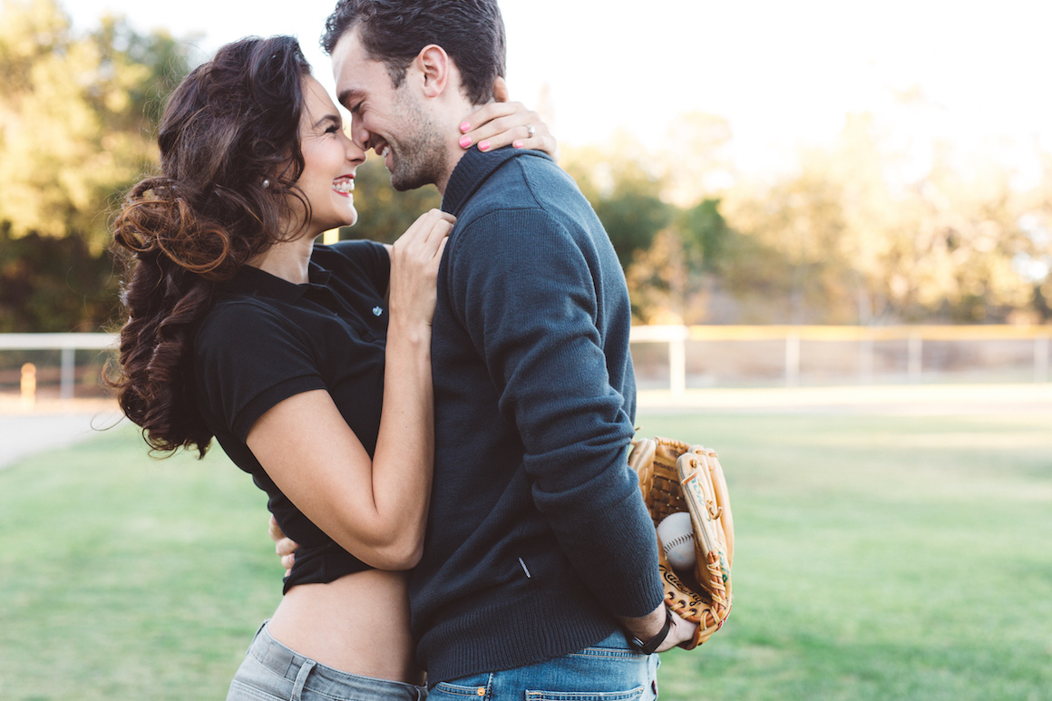 Engagement, Hylah White, Anna Delores, Outdoor Engagements, baseball